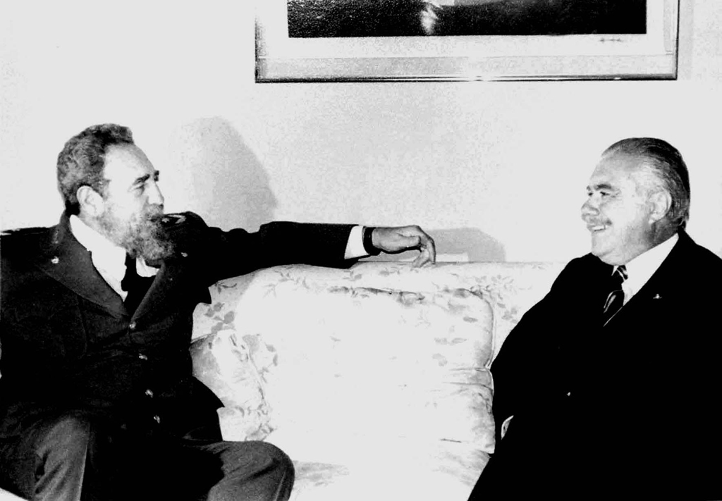 Fidel Castro e José Sarney em Caracas, Venezuela