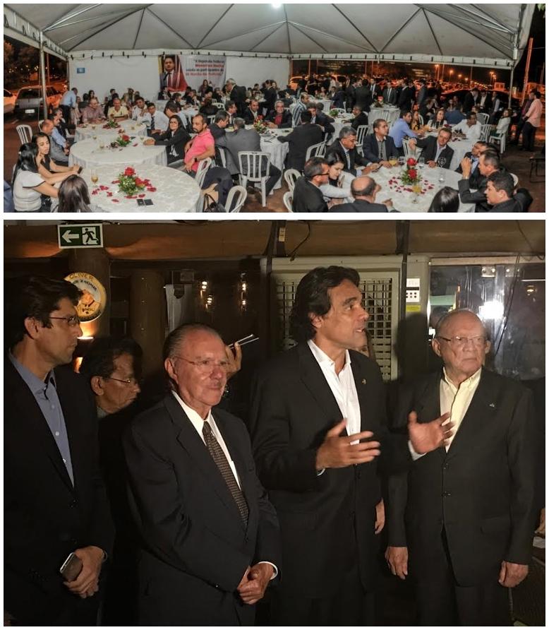 Acima: jantar de Weverton Rocha; embaixo: Lobão Filho fala a prefeitos em restaurante