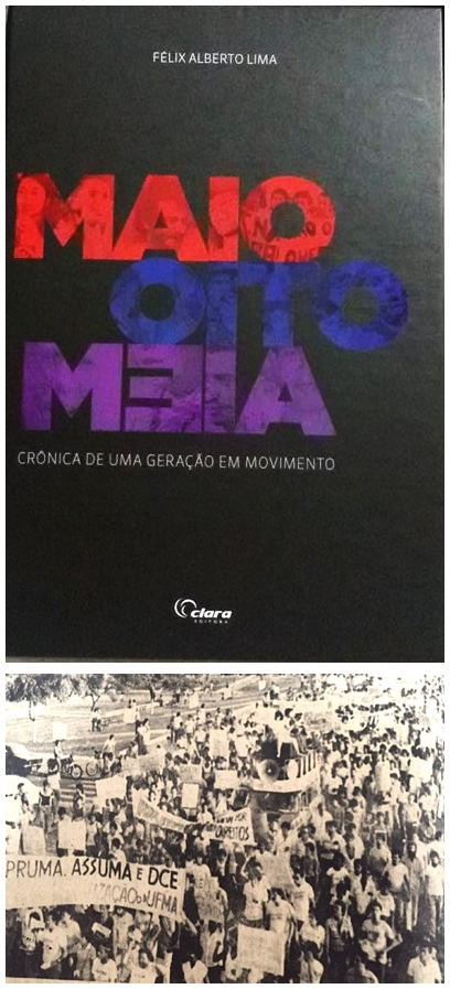 \capa do livro e imagem de um protesto da geração oito meia