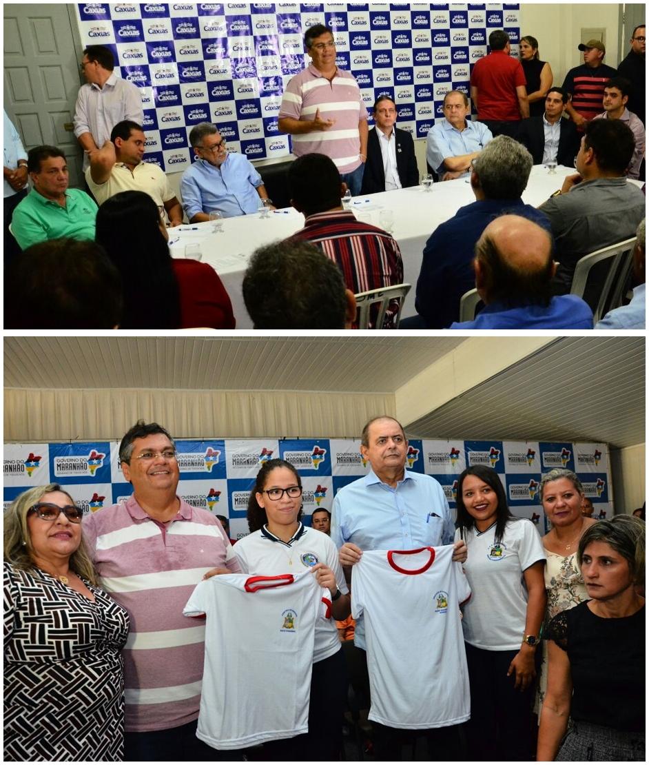 Governador Flávio Dino e prefeito Fábio Gentil durante reunião em Caxias. Foto: Nael Reis/Secap
