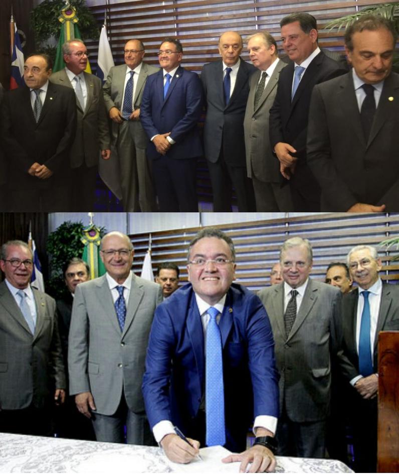Dois momentos: Roberto Rocha entre a líderes tucanos e no momento em que assinava a ficha de filiação