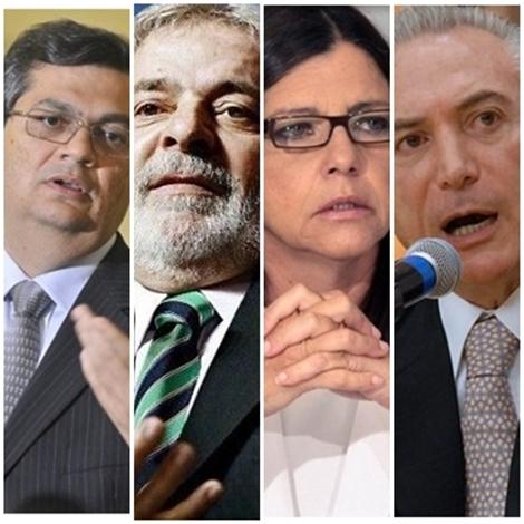 Flávio Dino e Lula e Roseana Sarney e Michel Temer: alianças para as eleições