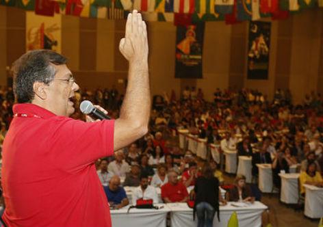 Flávio Dino no Congresso do PCdoB, em Brasília: denúncia de pressões ao seu Governo