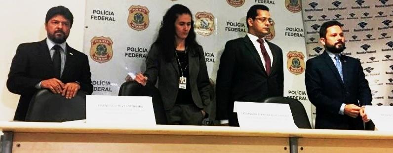 Comando da Polícia Federal na entrevista em que anunciou a Operação Pegadores