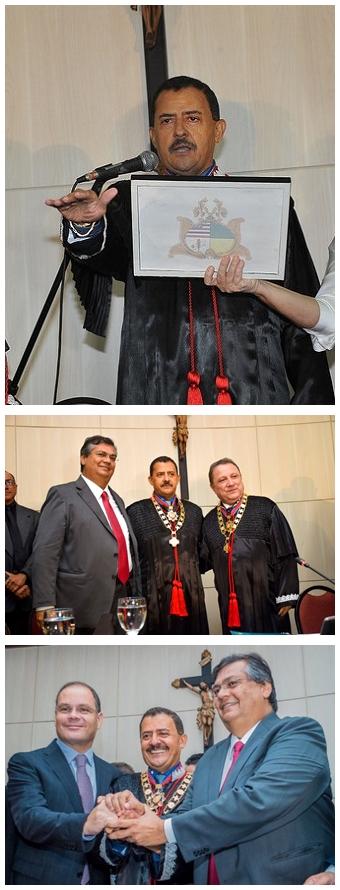 José Joaquim Figueiredo dos Anjos presta juramento, , é cumirmentado pelo governador Flpavio Dino e pelo antecessor Cleones Cunha, e reafirma a regra da harmonia entre os Poderes Legislativo, Judiciário e Executivo