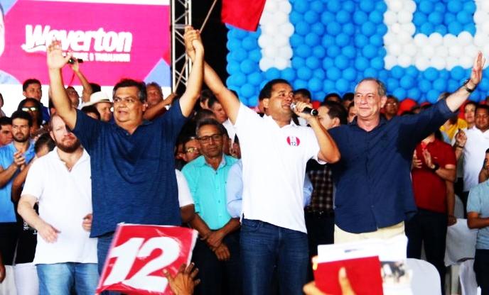 Weverton Rocha (c), apoiado por Flávio Dino e Ciro Gomes