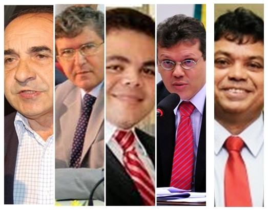 Sebastião Madeira, Ildon Marques,Davi Alves Filho, João Marcelo e Márcio Jerry: nomes fortes na disputa pela Câmara Federal em Imperatriz