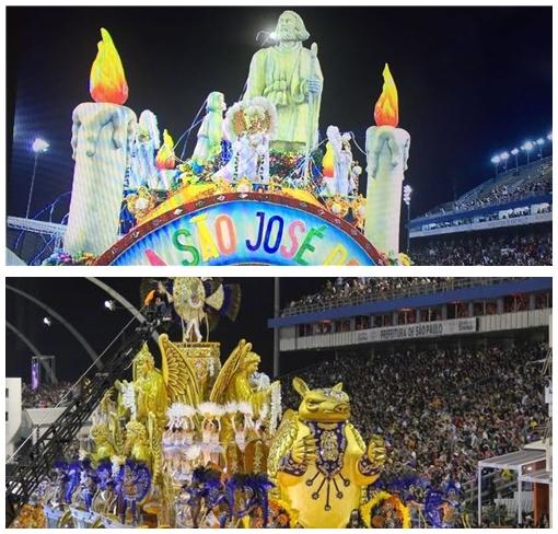 Carros alegóricos destacando São José de Ribamar e outros traços da cultura maranhense