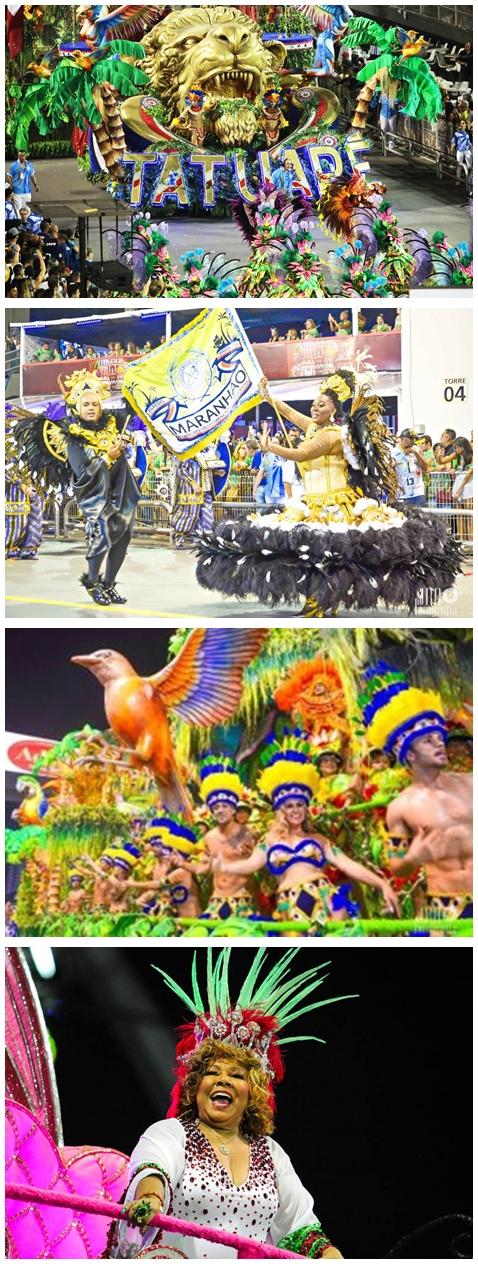 O Leão abriu o desfile da Tatuapé, que evoluiu um brazão do Maranhão, palmeiras, sabiás, e a madrinha do samba, Alcione, homenageada pela com palmeiras, sabiá