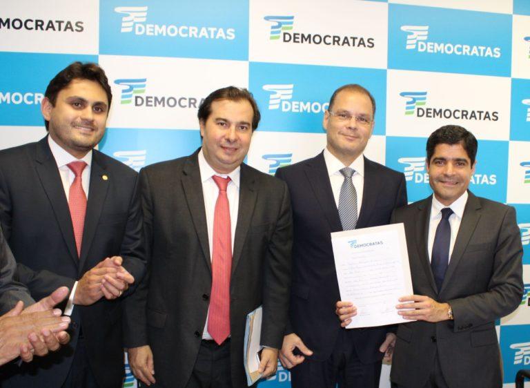 Juscelino Filho, Rodrigo Maia, Rogério Cafeteira e ACM Neto: resolvida a situação do DEM no Maranhão