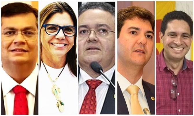 Flávio Dino e Odívio Neto (último à direita) estão consolidados em meio a Roseana Sarney, Roberto Rocha e Eduardo Braide, que são possibilidades à caminho da consolidação, ou não consolida Roseana Sarney, Roberto Rocha