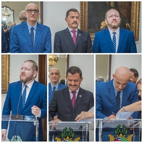 Othelino Neto, José Joaquim Figueiredo dos Anjos e Marcelo Carvalho firmam Termo de Cooperação da uso da TV Assembleia