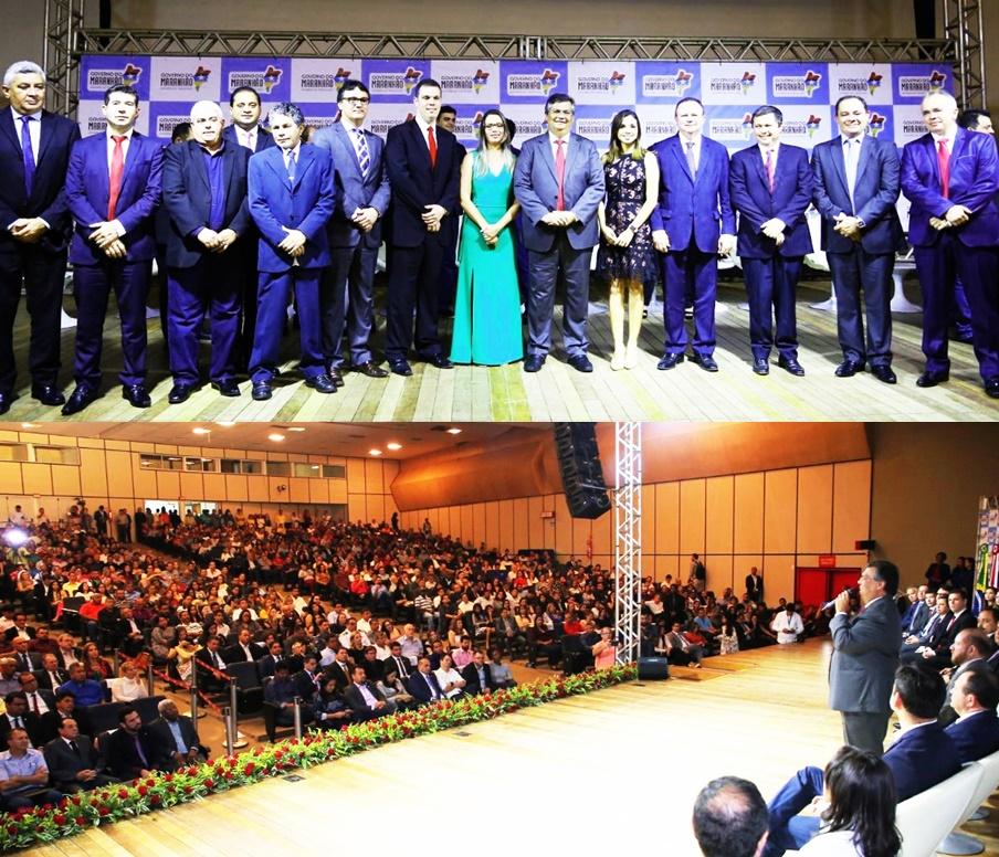 Flávio Dino posa com os novos secretários; e em pronunciamento avisa que nada muda na orientação do governo