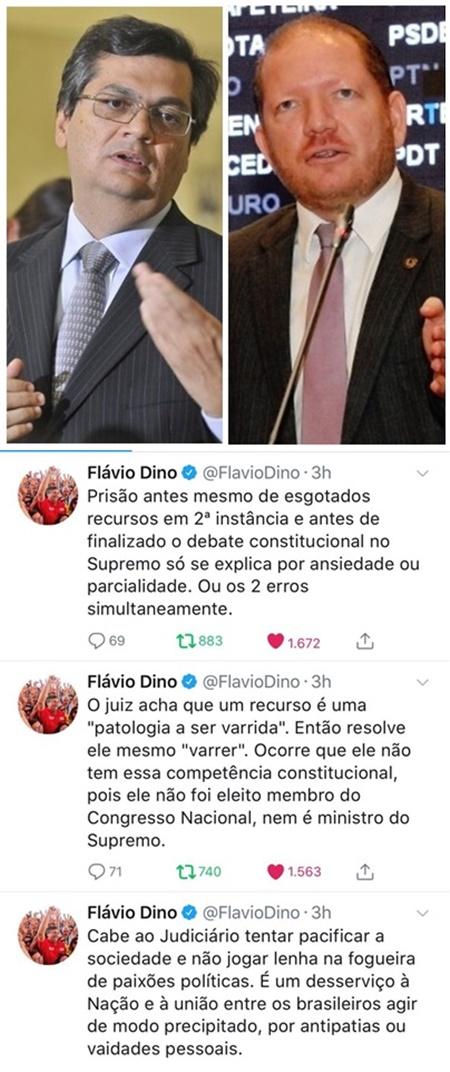 Flávio Dino reagiu à prisão de Lula da Silva com os posts abaixo, e Othelinoi Filho declarou sua indignação em entrevista à Coluna