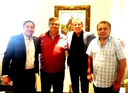 Flávio Dino entre Augusto Lobato, Zé Carlos e Zé Inácio selam aliança