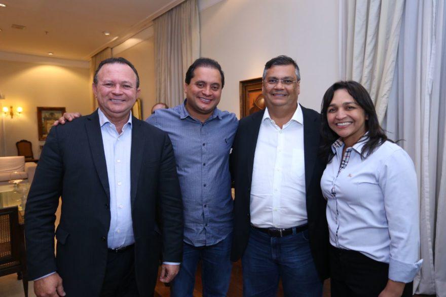 Flávio Dino entre Carlos Brandão, Weverton Rocha e Eliziane Gama no ato de apresentação dos nomes da sua chapa