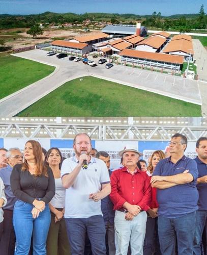 Complexo educacional de tempo integram inaugurado ontem em Vargem Grande; Othelino Neto fala ni ato observado por Flávio Dino