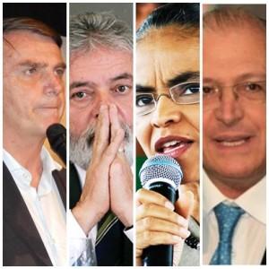 Jair Bonsonaro é o mais rejeitado, seguido de Lula da Silva, Marina Silva e Geraldo Alckmin